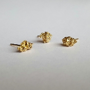 18K Yellow Gold Stud Earrings, Set of 3